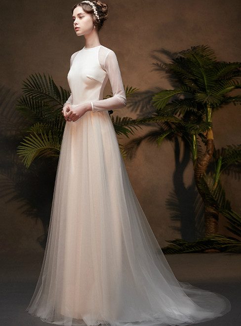 A-Line White Tulle Long Sleeve Backless Wedding Dress With Shawl