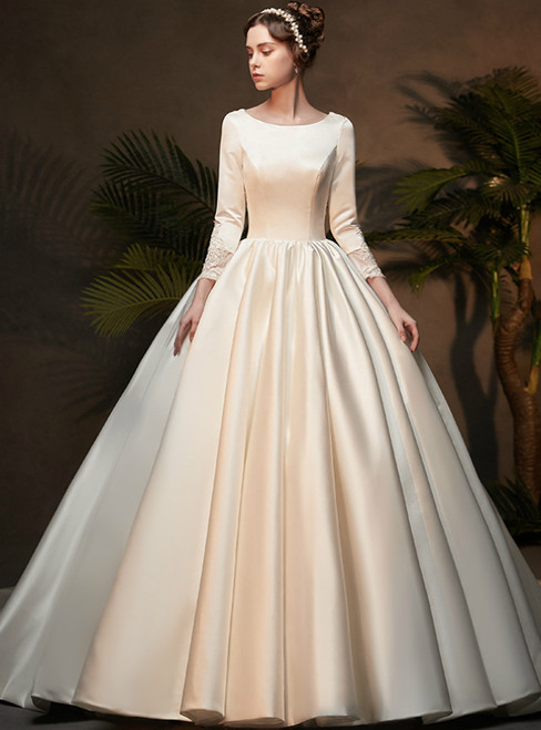 White Ball Gown Satin Bateau Long Sleeve Appliques Wedding Dress