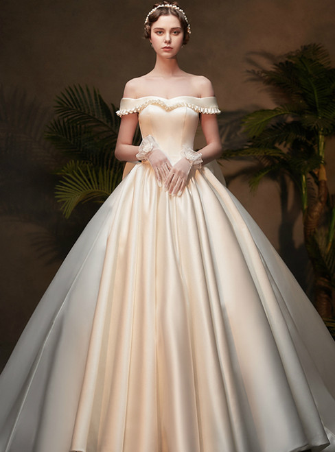 Adorable White Ball Gown Satin Off the Shoulder Wedding Dress With Bow