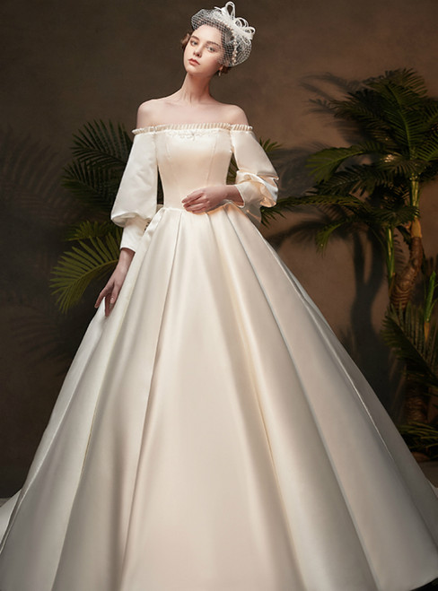 White Ball Gown Satin Off the Shoulder Puff Sleeve Wedding Dress With Bow