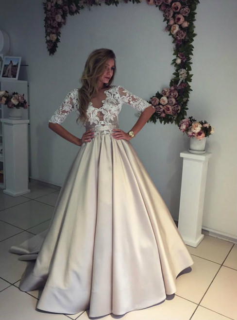 Custom Ball Gown Champagne Satin Half Sleeves Wedding Dresses
