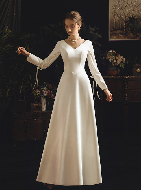 A-Line White Satin V-neck Long Sleeve Backless Wedding Dress With Bow