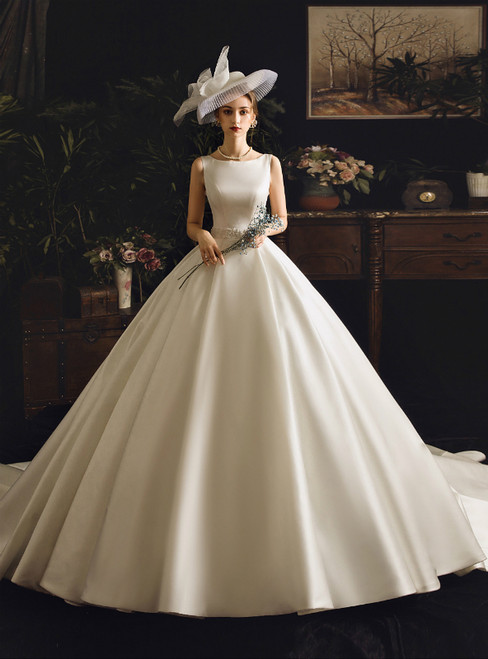 White Ball Gown Satin Appliques Bateau With Beading Wedding Dress