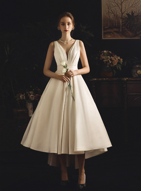 Beige White Satin V-neck Hi Lo Backless Short Wedding Dress With Bow