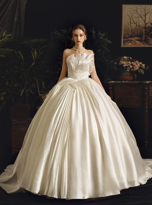 White Ball Gown Satin Strapless Sleeveless Pleats Wedding Dress