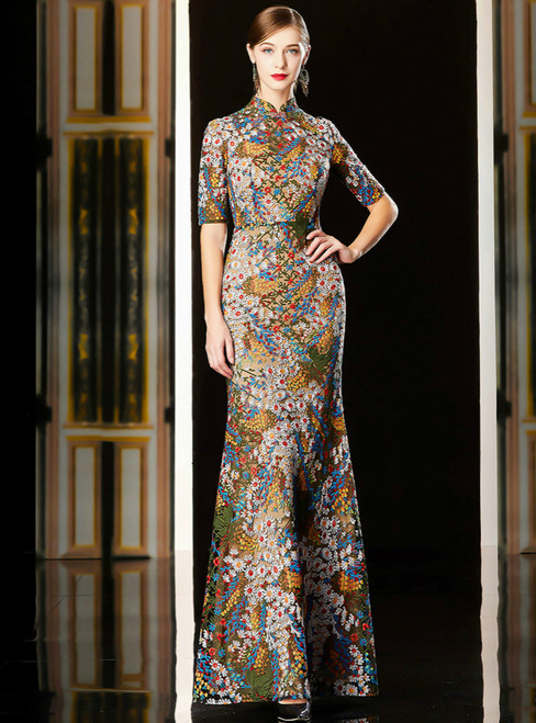 Coloful Lace Embroidery Sheath High Neck Short Sleeve Mother Of The Bride Dress