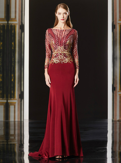 Red Mermaid Sequins Long Sleeve Gold Appliques Mother Of The Bride Dress