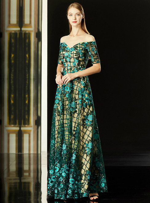 A-Line Green Sequins Embroidery Appliques Short Sleeve Mother Of The Bride Dress