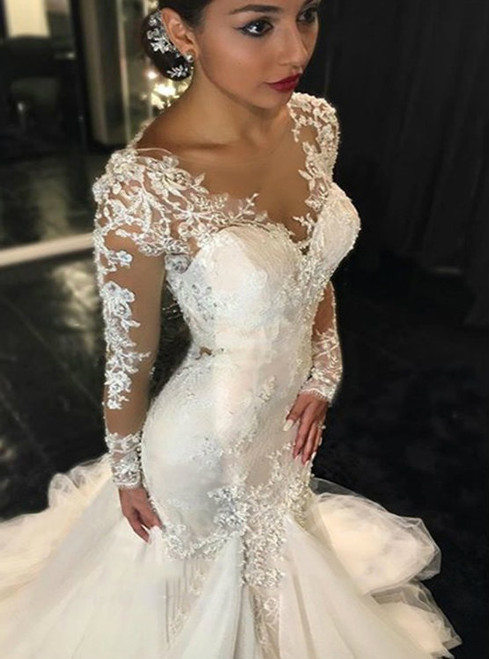 Cheap wedding dresses 2017 Long Sleeves Wedding Dress  Mermaid Wedding Dress