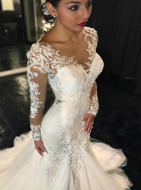 Cheap wedding dresses 2017 Long Sleeves Wedding Dress  Mermaid Wedding Dress