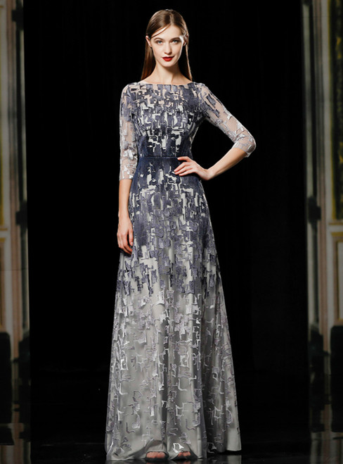 A-Line Gray Lace 3/4 Sleeve Long Mother Of The Bride Dress