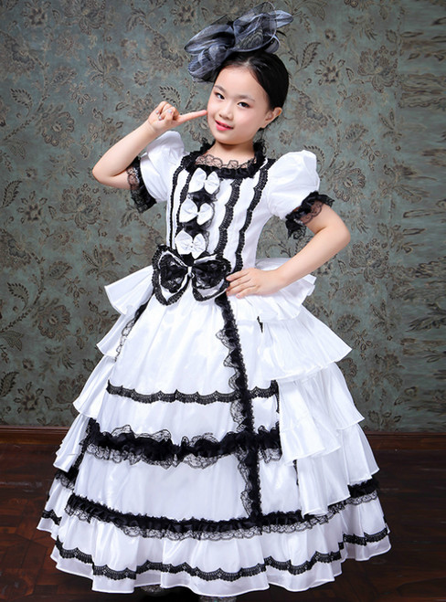 Girl White Ball Gown Bow Drama Show Vintage Gown Dress