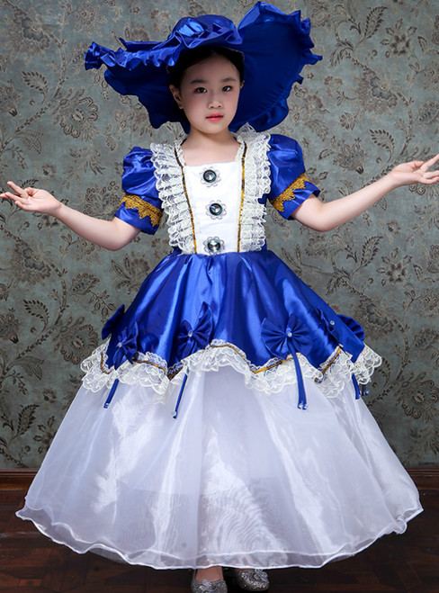 Blue Ball Gown Satin Puff Sleeve Drama Show Vintage Gown Dress