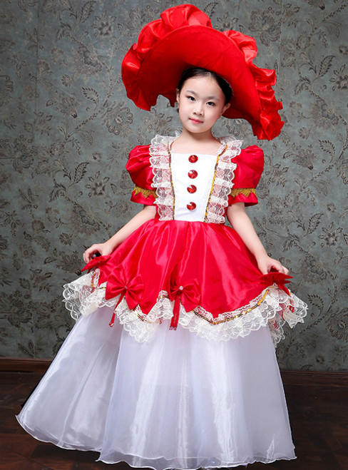 Red Ball Gown Satin Puff Sleeve Drama Show Vintage Gown Dress
