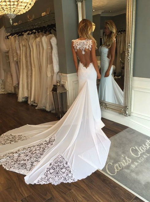 White Mermaid Chiffon Lace Wedding Dresses With Train