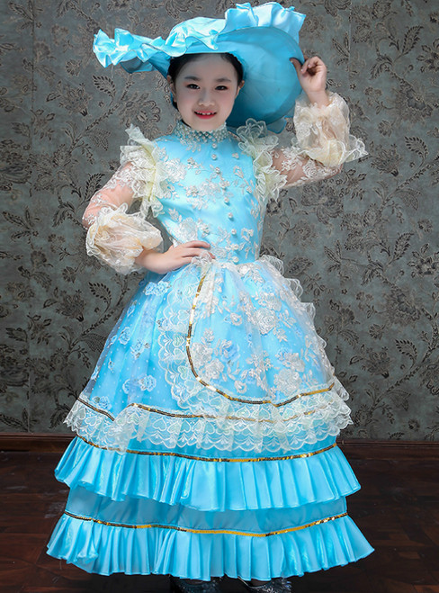 Blue Ball Gown Satin Lace Appliques Long Sleeve Drama Show Vintage Gown Dress