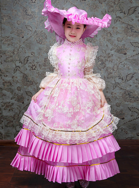 Pink Ball Gown Satin Lace Appliques Long Sleeve Drama Show Vintage Gown Dress