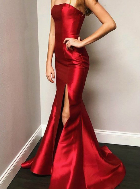 Red Mermaid Satin Strapless Prom Dress With Side Split