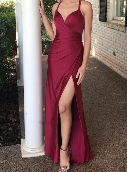 Elegant Mermaid Burgundy Pleats Spaghetti Straps Long Prom Dress