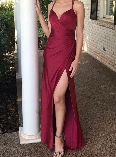 Elegant Mermaid Burgundy Pleats Spaghetti Straps Long Prom Dress