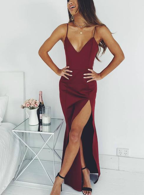 Burgundy Spaghetti Straps High Side Split Evening Gown