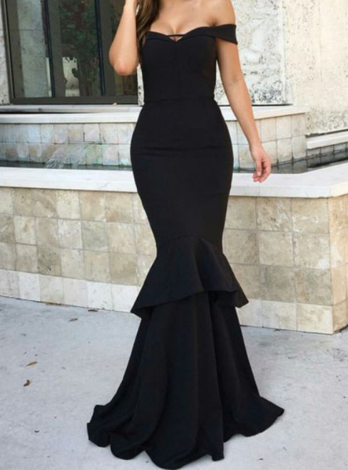 Simple Black Mermaid Satin Off the Shoulder Prom Dress