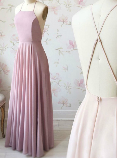 A-Line Simple Pink Chiffon Halter Crosed Straps Prom Dress