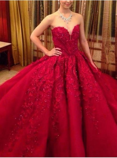 Luxury Red Sweetheart Wedding Dress Handmade Train Wedding Dress