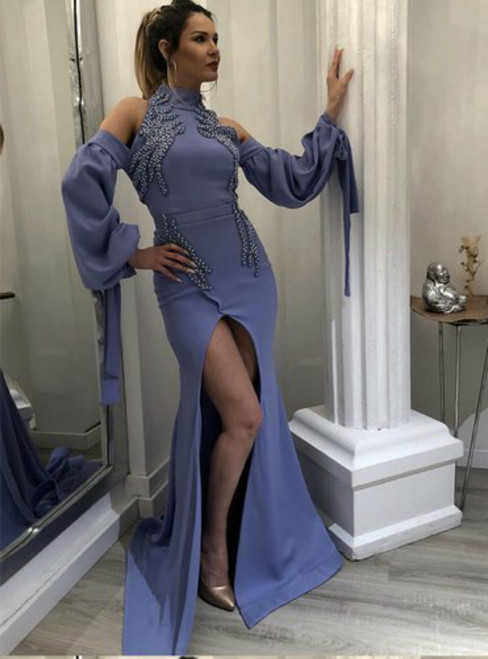 Dark Lavender High Neck Cold Shoulder Long Sleeve Prom Dress With Side Split