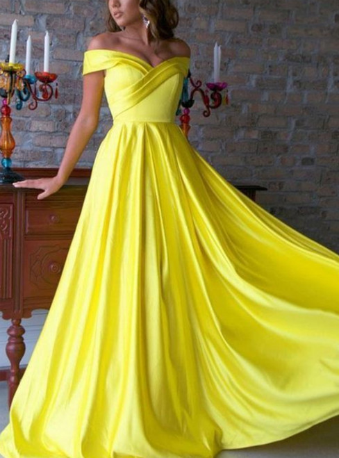 A-Line Yellow Satin Off the Shoulder Pleats Long Prom Dress