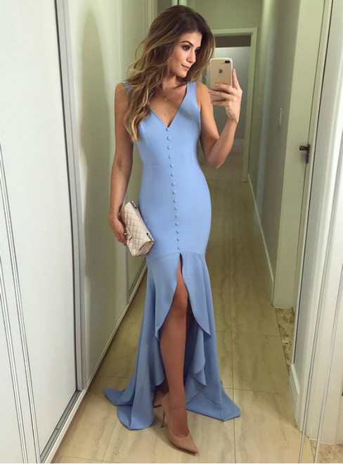 Light Blue Sexy V Neck Prom Party Dresses With Split
