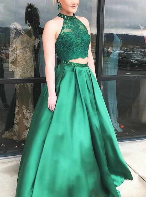 A-Line Green Satin Two Piece Halter Long Prom Dress