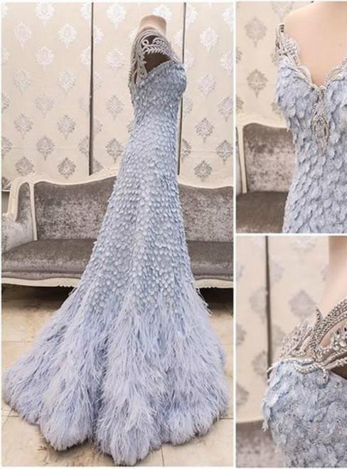 New Arrival Blue Prom Dress Modest Prom Dress Flower wedding dress