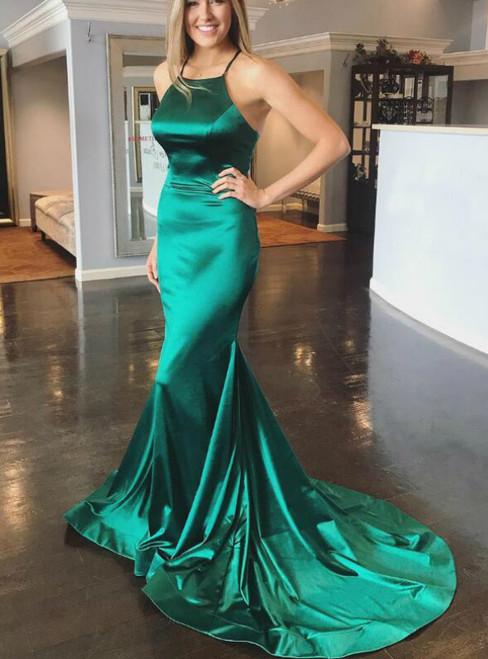 Green Mermaid Satin Halter Crossed Straps Back Prom Dress