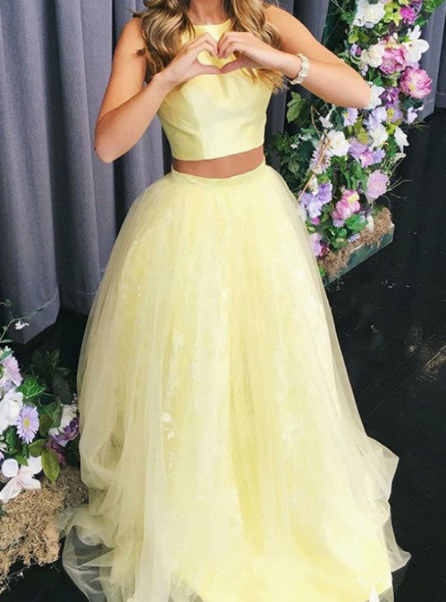 Yellow Ball Gown Two Piece Tulle Long Prom Dress Graduation Dresses