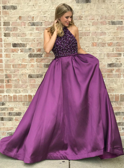 Halter Beaded Bodice Purple Satin Long Prom Dress Party Dress