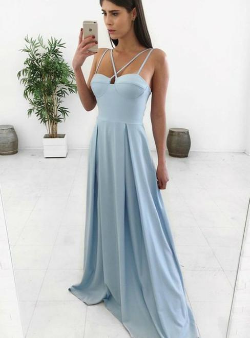 A Line Spaghetti Straps Floor Length Blue Satin Long Prom Dress