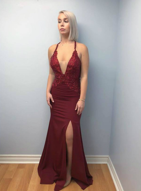 Burgundy Appliques Mermaid V neck Split Open Back Evening Dress