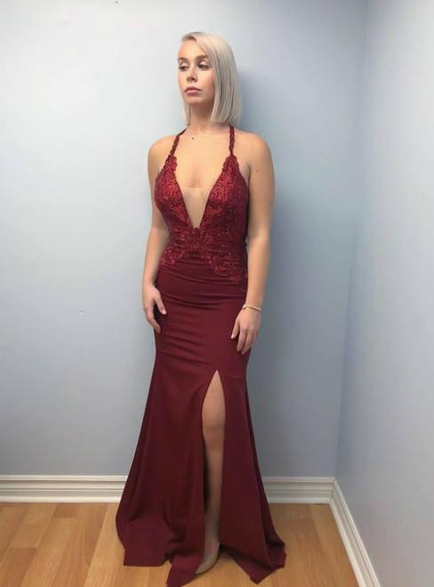 Burgundy Appliques Mermaid V neck Split Open Back Evening Dress