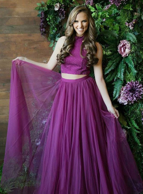 Purple Two Piece High Neck Grape Tulle Prom Dress With Beadings