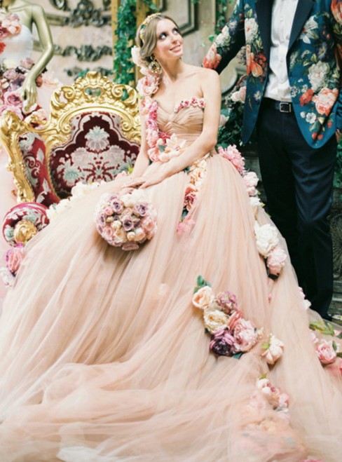 Cheap wedding dresses 2017 Handmade Flowers Prom Dress Champagne Prom Dress