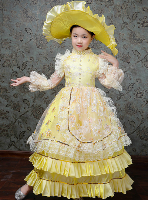 Yellow Ball Gown Satin Lace Appliques Long Sleeve Drama Show Vintage Gown Dress