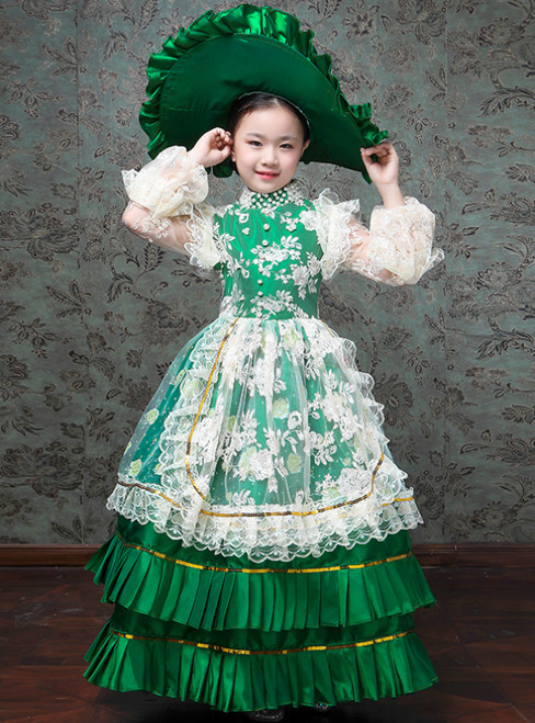 Green Ball Gown Satin Lace Appliques Long Sleeve Drama Show Vintage Gown Dress