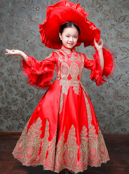 Red Satin Appliques Puff Sleeve Drama Show Vintage Gown Dress