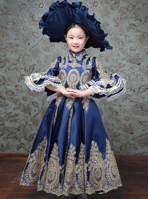 Blue Satin Appliques Puff Sleeve Drama Show Vintage Gown Dress