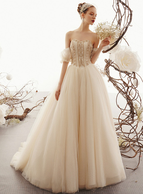 Champagne Tulle Sweetheart Puff Sleeve Floor Length Wedding Dress