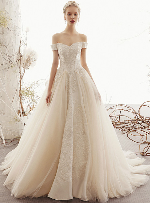 Champagne Ball Gown Tulle Appliques Corset Off the Shoulder Wedding Dress