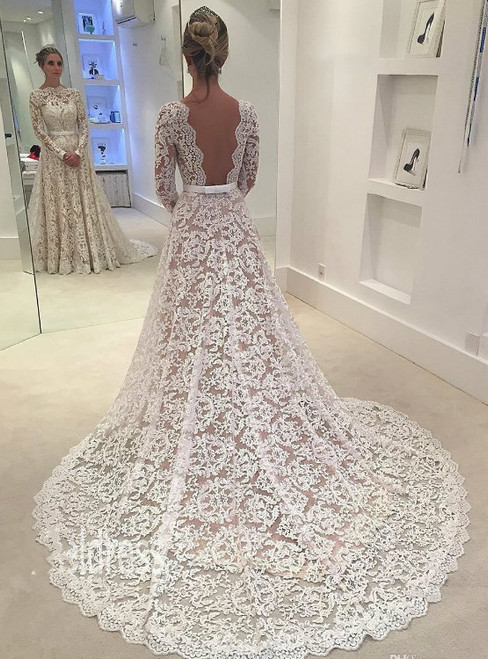 Cheap wedding dresses 2017 Long Sleeves Vintage Lace Wedding Dresses 2017
