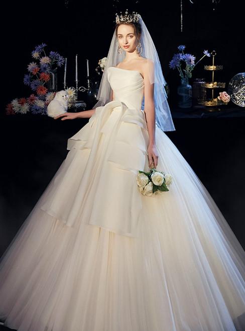 Beige White Tulle Strapless Pleats Floor Length Wedding Dress
