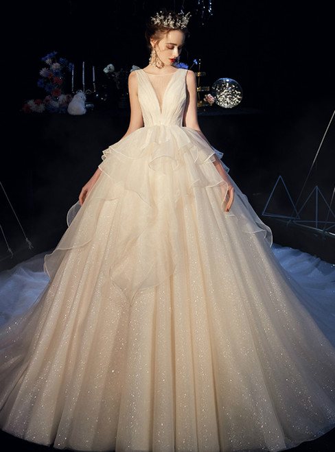 Champagne Ball Gown Tulle See Through V-neck Backless Wedding Dress